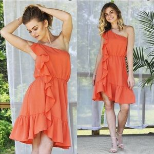 NWT One Shoulder Ruffle Dress Orange/Coral